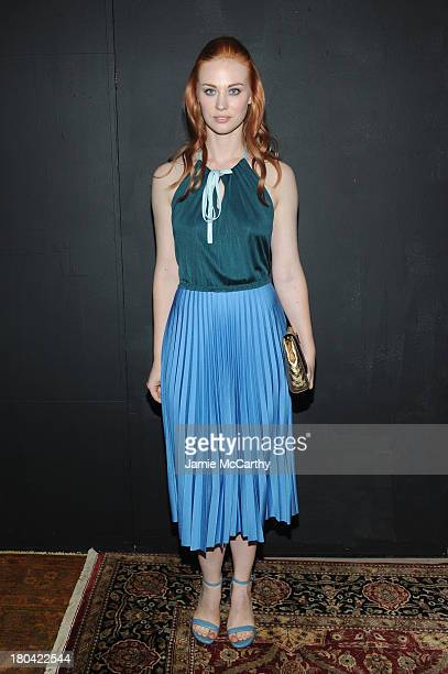 Actress Deborah Ann Woll poses backstage at the Marc Jacobs fashion show during MercedesBenz Fashion Week Spring 2014 at the Lexington Avenue Armory...