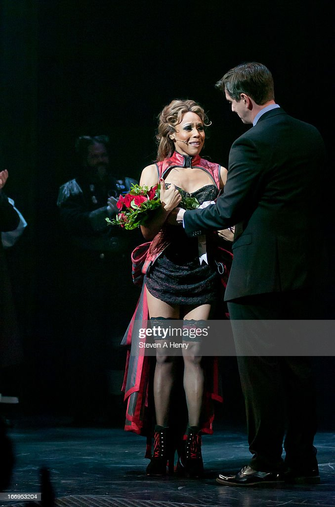 Actress <a gi-track='captionPersonalityLinkClicked' href=/galleries/search?phrase=Deborah+Cox&family=editorial&specificpeople=213023 ng-click='$event.stopPropagation()'>Deborah Cox</a> attends the curtain call on the Broadway opening night of 'Jekyll & Hyde The Musical'>> at the Marquis Theatre on April 18, 2013 in New York City.