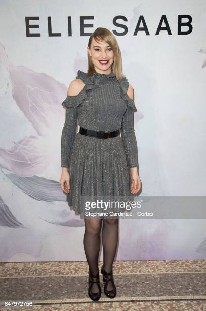 Actress Deborah Francois attends the Elie Saab show as part of the Paris Fashion Week Womenswear Fall/Winter 2017/2018 on March 4 2017 in Paris France