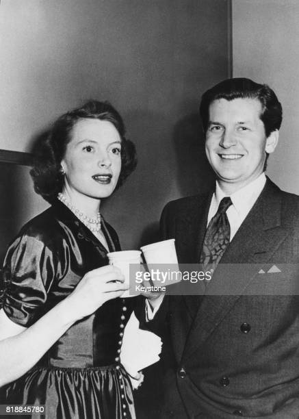 Actress Deborah Kerr and her husband studio executive and former RAF fighter ace Tony Bartley stop for coffee after taking part in the Screen Guild...