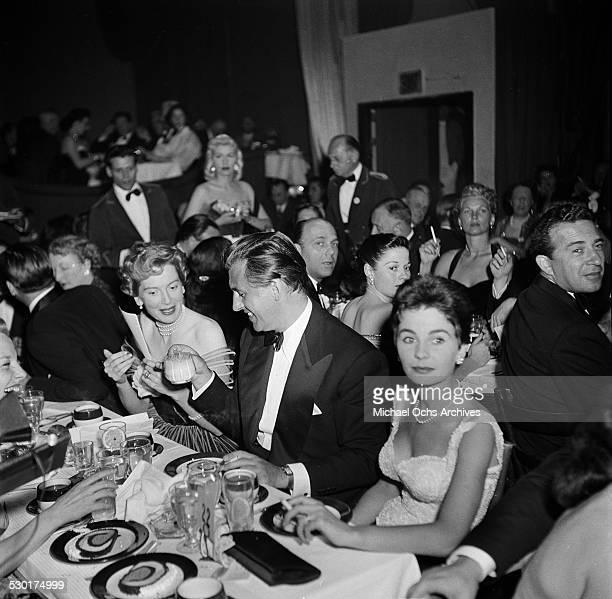 Actress Deborah Kerr Stuart Granger and Jean Simmons attend the Golden Globe Awards at Ciro's nightclub in Los AngelesCA
