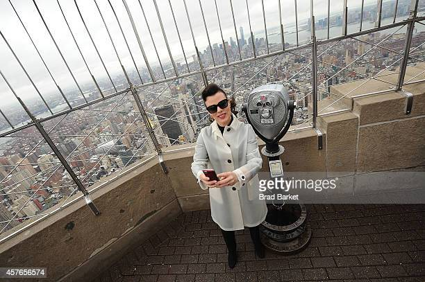 Actress Deborah Mazar lights The Empire State Building Red White And Blue Honoring The New York Police and Fire Widows' and Children's Benefit Fund...