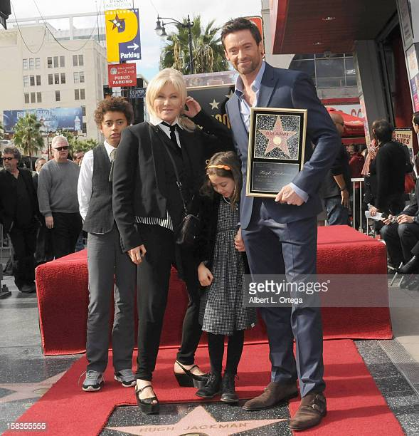 Actress DeborraLee Furness actor Hugh Jackman and children Oscar and Ava participate in the Hugh Jackman Star ceremony at The Hollywood Walk Of Fame...