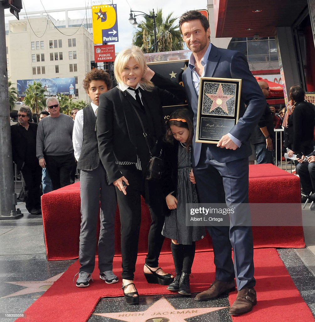 Actress Deborra-Lee Furness, actor Hugh Jackman and children Oscar and Ava participate in the Hugh Jackman Star ceremony at The Hollywood Walk Of Fame on December 13, 2012 in Hollywood, California.