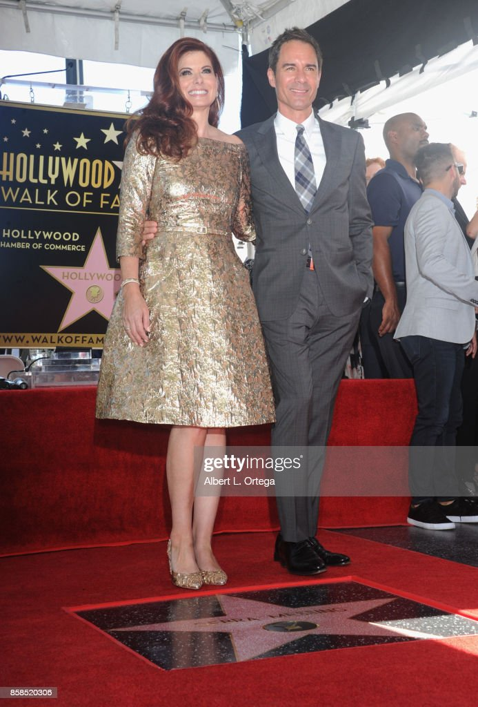 Actress Debra Messing and actor Eric McCormack attend Debra Messing Star Ceremony on The Hollywood Walk Of Fame held on October 6, 2017 in Hollywood, California.