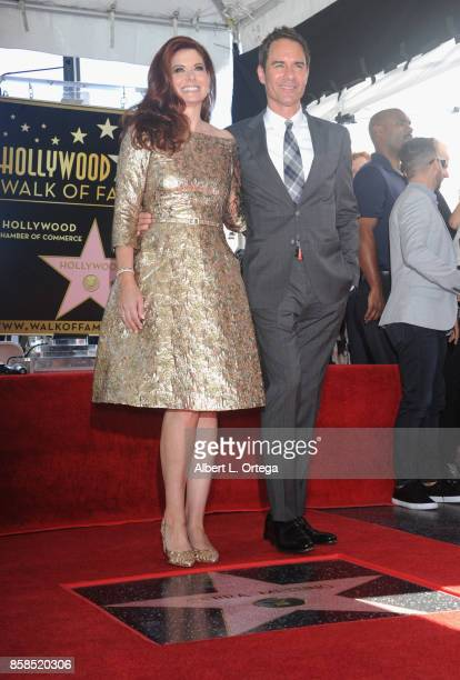 Actress Debra Messing and actor Eric McCormack attend Debra Messing Star Ceremony on The Hollywood Walk Of Fame held on October 6 2017 in Hollywood...