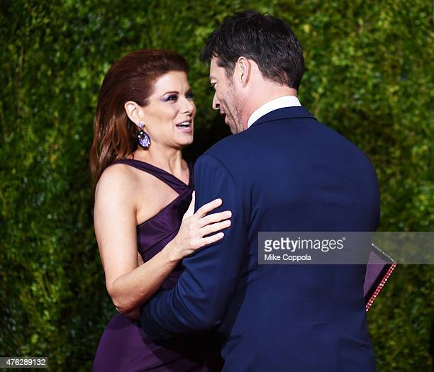 Actress Debra Messing and Harry Connick Jr attend the 2015 Tony Awards at Radio City Music Hall on June 7 2015 in New York City