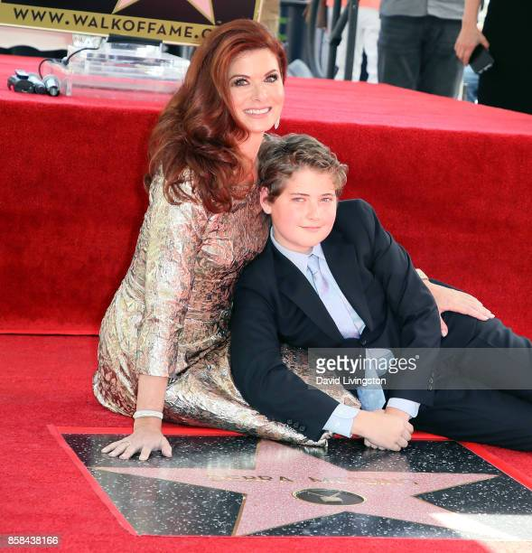 Actress Debra Messing and son Roman Walker Zelman attend her being honored with a Star on the Hollywood Walk of Fame on October 6 2017 in Hollywood...