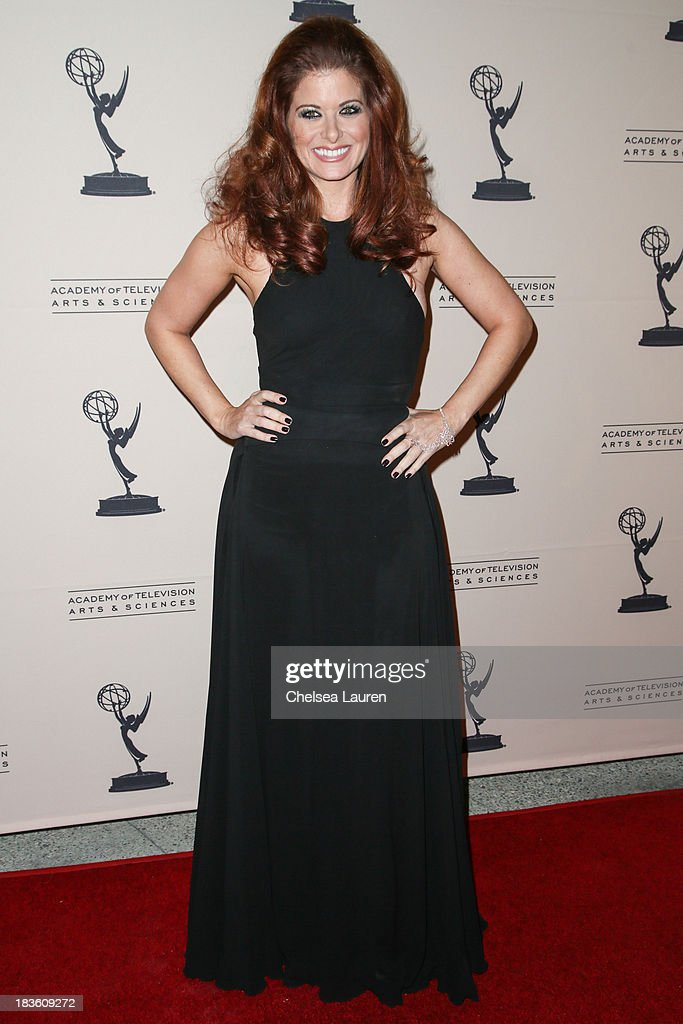 Actress <a gi-track='captionPersonalityLinkClicked' href=/galleries/search?phrase=Debra+Messing&family=editorial&specificpeople=202114 ng-click='$event.stopPropagation()'>Debra Messing</a> arrives at 'An Evening Honoring James Burrows' at Academy of Television Arts & Sciences on October 7, 2013 in North Hollywood, California.