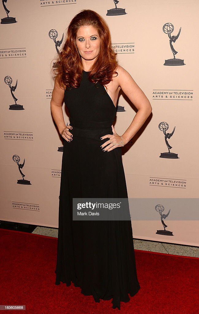 Actress <a gi-track='captionPersonalityLinkClicked' href=/galleries/search?phrase=Debra+Messing&family=editorial&specificpeople=202114 ng-click='$event.stopPropagation()'>Debra Messing</a> attends The Academy Of Television Arts & Sciences' Presents An Evening Honoring James Burrows held at the Academy of Television Arts & Sciences on October 7, 2013 in North Hollywood, California.