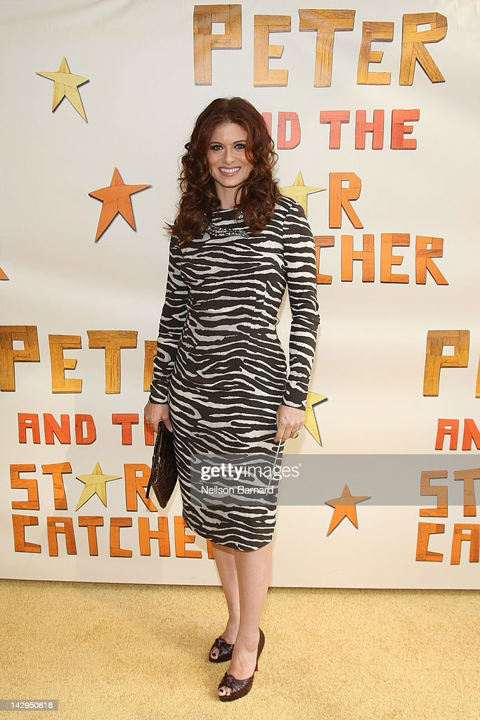 Actress Debra Messing attends the opening night of 'Peter And The Starcatcher' on Broadway at The Brooks Atkinson Theatre on April 15 2012 in New...