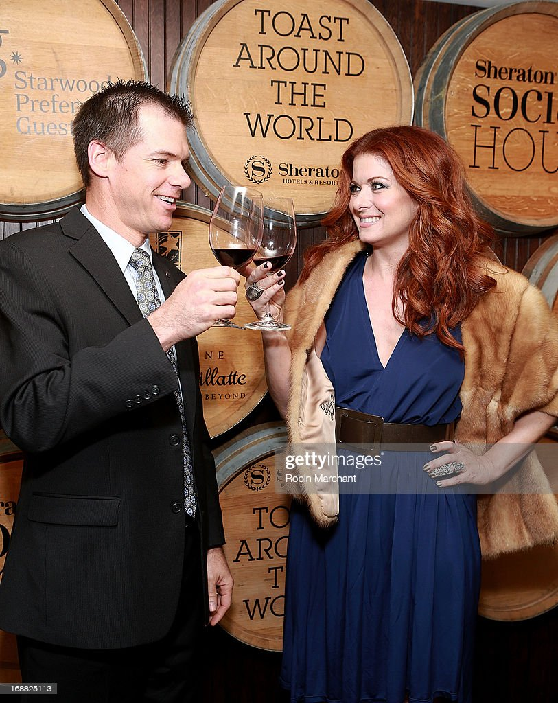 Actress Debra Messing (R) attends 'Toast Around The World' Celebration at New York Sheraton Hotel & Tower on May 15, 2013 in New York City.