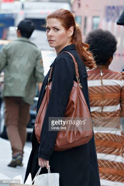 Actress Debra Messing films 'The Mysteries of Laura' on August 27 2014 in New York City