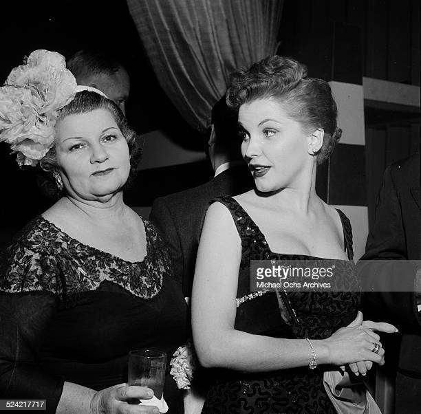 Actress Debra Paget and her mother Maggie Paget attend Fox party for Sophia Loren in Los AngelesCA