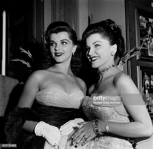 Actress Debra Paget and Lisa Gaye attend the movie premiere of 'The Robe' in Los AngelesCA