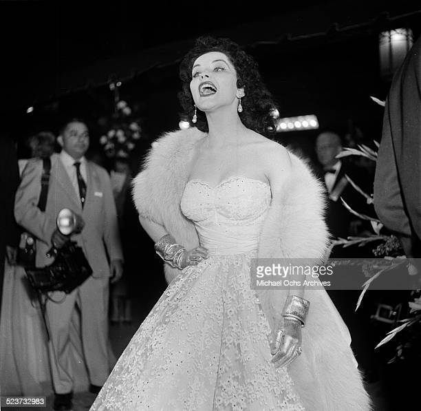 Actress Debra Paget attends the movie premiere of 'Prince Valiant' at Romanoff's in Los AngelesCA