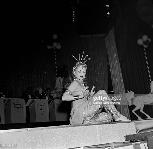 Actress Debra Paget performs on stage during an event in Los AngelesCA