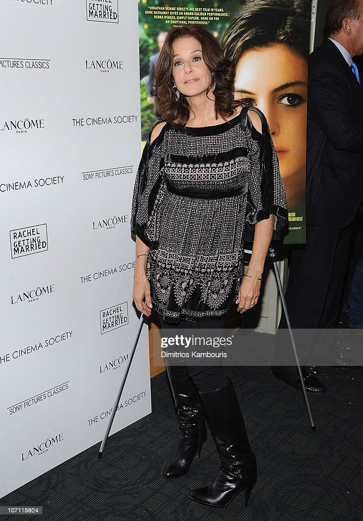 Actress <a gi-track='captionPersonalityLinkClicked' href=/galleries/search?phrase=Debra+Winger&family=editorial&specificpeople=226787 ng-click='$event.stopPropagation()'>Debra Winger</a> attends the Cinema Society and Lancome screening of 'Rachel Getting Married' at the Landmark Sunshine Theater on September 25, 2008 in New York City.