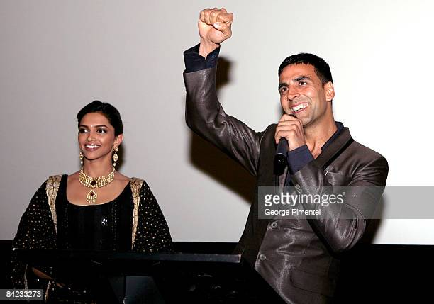 Actress Deepika Padukone and actor Akshay Kumar arrive at the Canadian Premiere of the Warner Bros release for the Bollywood film 'Chandni Chowk To...
