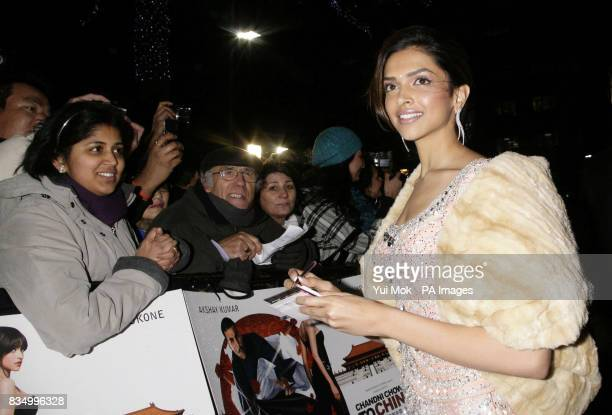Actress Deepika Padukone arriving for the premiere of 'Chandni Chowk To China' at The Empire in Leicester Square central London