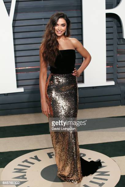 Actress Deepika Padukone attends the 2017 Vanity Fair Oscar Party hosted by Graydon Carter at the Wallis Annenberg Center for the Performing Arts on...