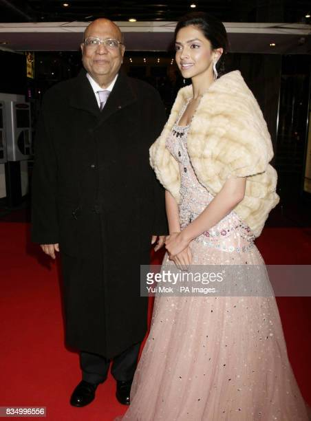 Actress Deepika Padukone with Swaraj Paul arriving for the premiere of 'Chandni Chowk To China' at The Empire in Leicester Square central London