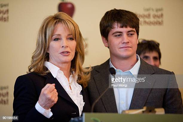 Actress Deidre Hall and her son David Atticus Sohmer attend a press conference regarding the Child Nutrition Promotion and School Lunch Protection...