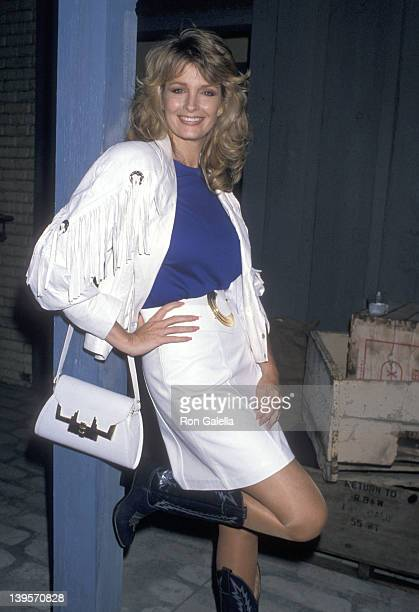 Actress Deidre Hall attends the First Annaul ProCelebrity Rodeo Tournament Cocktail Party on August 11 1989 at Los Angeles Equestrian Center in...