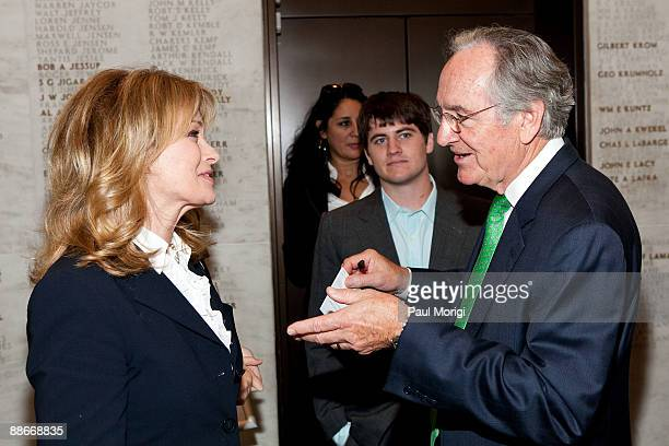 Actress Deidre Hall talks with Sen Tom Harkin at a press conference regarding the Child Nutrition Promotion and School Lunch Protection Act at the...