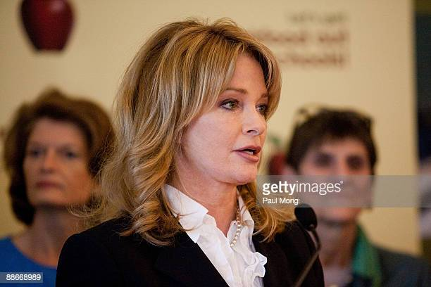 Actress Deidre Hall with members of congress attends a press conference regarding the Child Nutrition Promotion and School Lunch Protection Act at...