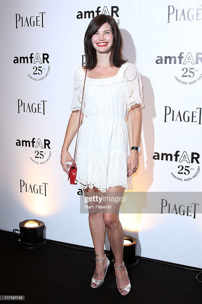 Actress Delphine Chaneac attends the amfAR Inspiration Gala photocall at Pavillon Gabriel on June 23, 2011 in Paris, France.