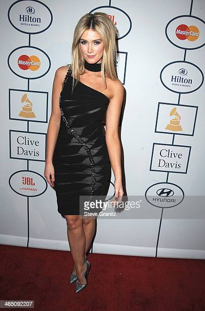 Actress Delta Goodrem attends the 56th annual GRAMMY Awards PreGRAMMY Gala and Salute to Industry Icons honoring Lucian Grainge at The Beverly Hilton...