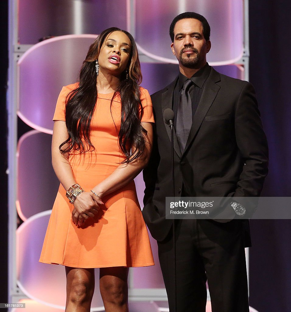 Actress <a gi-track='captionPersonalityLinkClicked' href=/galleries/search?phrase=Demetria+McKinney&family=editorial&specificpeople=5483441 ng-click='$event.stopPropagation()'>Demetria McKinney</a> (L) and actor <a gi-track='captionPersonalityLinkClicked' href=/galleries/search?phrase=Kristoff+St.+John&family=editorial&specificpeople=217523 ng-click='$event.stopPropagation()'>Kristoff St. John</a> speak during the 21st Annual Movieguide Awards at the Universal Hilton Hotel on February 15, 2013 in Universal City, California.