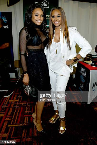 Actress Demetria McKinney and TV personality Cynthia Bailey attend day 2 of the radio broadcast center during the 2015 BET Experience on June 27 2015...