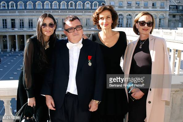 Actress Demi Moore Alber Elbaz French Minister of Culture and Communication Audrey Azoulay and actress Kristin Scott Thomas attend Alber Elbaz...