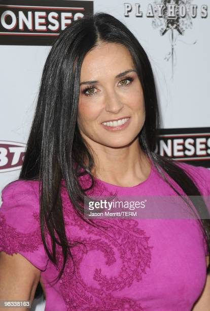 Actress Demi Moore arrives at Roadside Attractions Echo Lake Entertainment's premiere of 'The Joneses' held at Arclight Hollywood Cinema on April 8...
