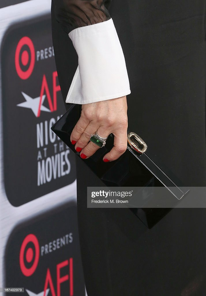 Actress Demi Moore (fashion detail) arrives on the red carpet for Target Presents AFI's Night at the Movies at ArcLight Cinemas on April 24, 2013 in Hollywood, California.