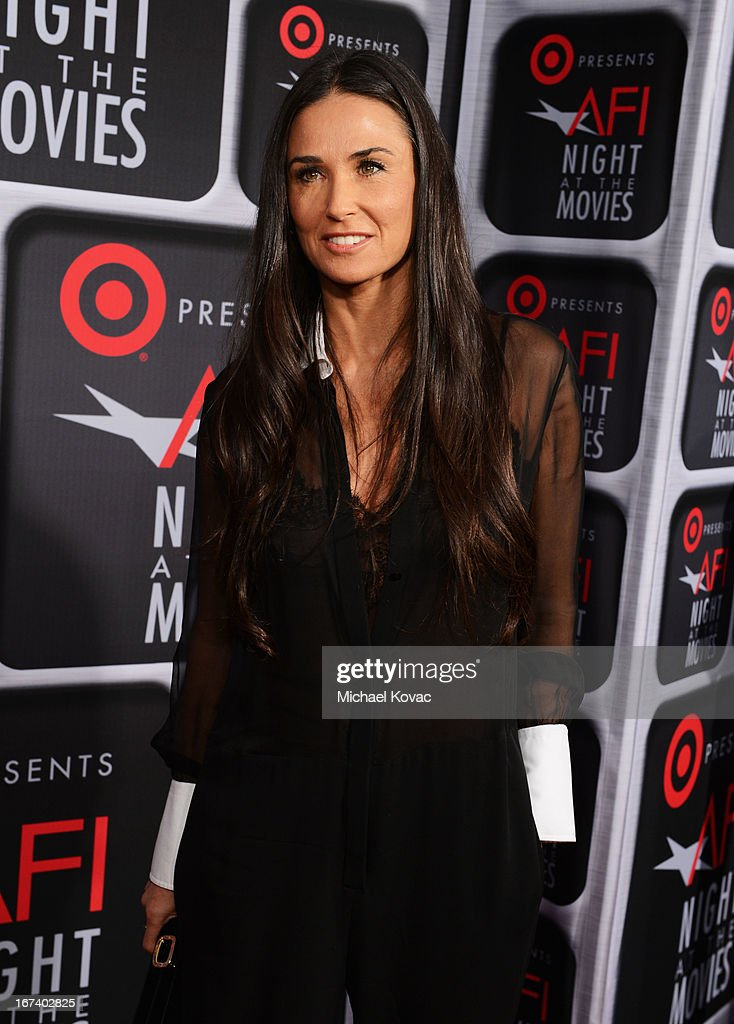 Actress Demi Moore arrives on the red carpet for Target Presents AFI's Night at the Movies at ArcLight Cinemas on April 24, 2013 in Hollywood, California.