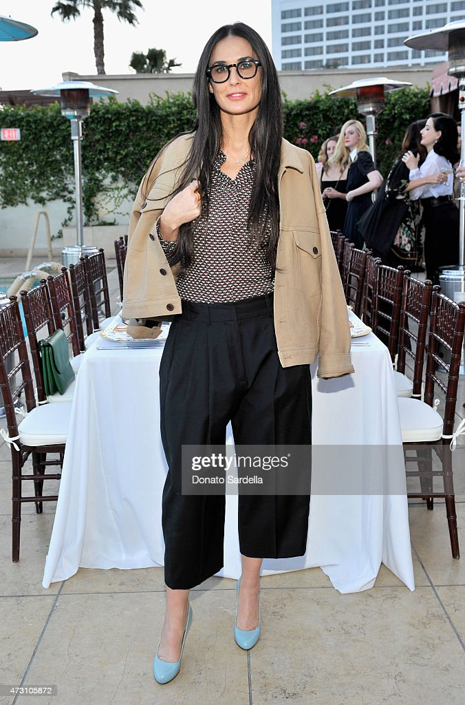 Actress Demi Moore attends an intimate dinner hosted by Charlotte Olympia Dellal and Liz Goldwyn at The Sunset Tower Hotel on May 12 2015 in West...