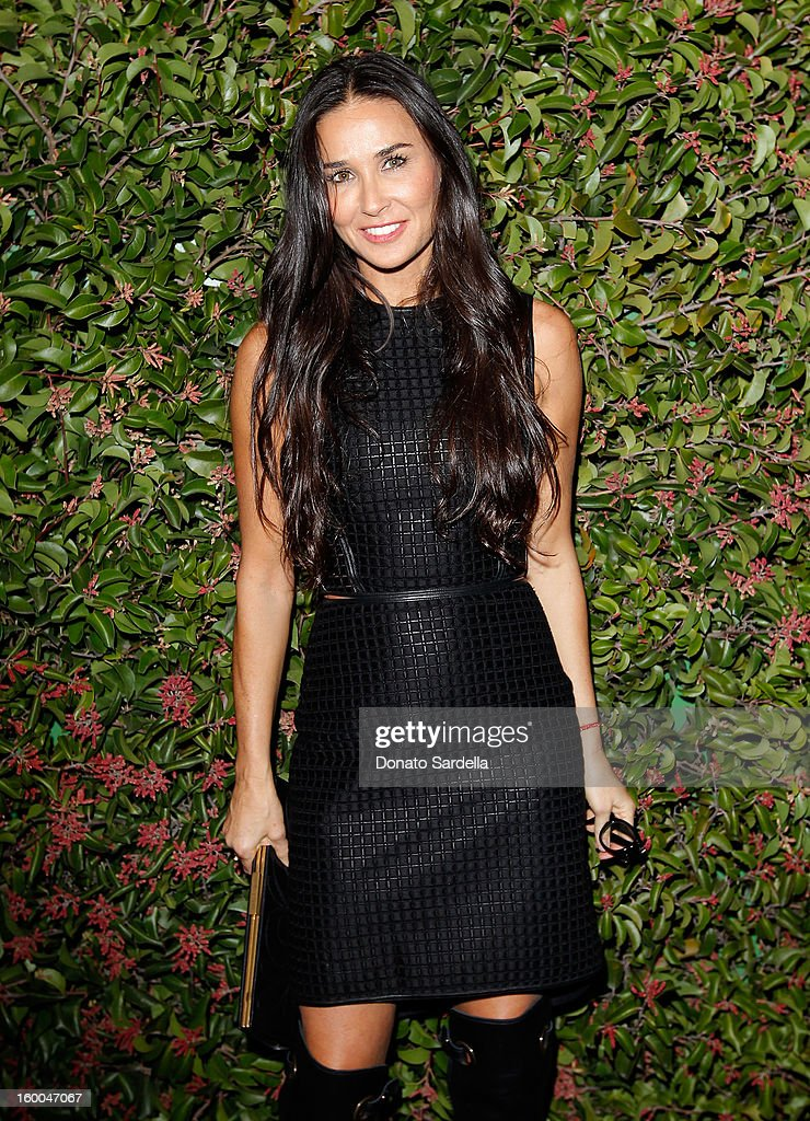 Actress <a gi-track='captionPersonalityLinkClicked' href=/galleries/search?phrase=Demi+Moore&family=editorial&specificpeople=202121 ng-click='$event.stopPropagation()'>Demi Moore</a> attends the Ferragamo presentation Spring Summer Runway Collection with VIP dinner, hosted by Jacqui Getty and Harpers BAZAAR at Chateau Marmont on January 24, 2013 in Los Angeles, California.