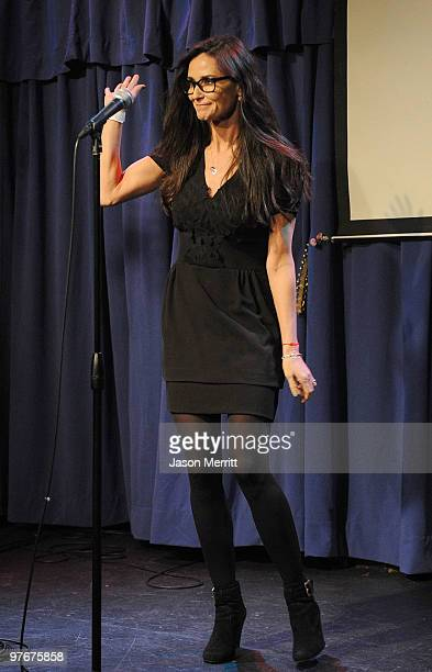 Actress Demi Moore during the 'A Night of 140 Tweets' benefit for Artists for Peace and Justice sponsored by 42 Below Vodka at the Upright Citizens...