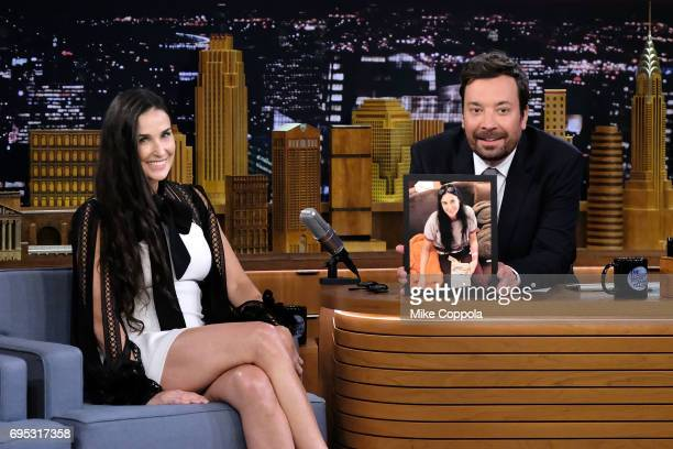Actress Demi Moore is interviewed by Host/Comedian Jimmy Fallon during her visit to the 'The Tonight Show Starring Jimmy Fallon' at Rockefeller...