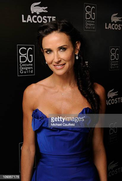 Actress Demi Moore poses backstage at the 13th Annual Costume Designers Guild Awards with presenting sponsor Lacoste held at The Beverly Hilton hotel...