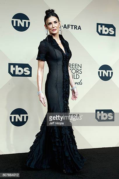 Actress Demi Moore poses in the press room during the 22nd Annual Screen Actors Guild Awards at The Shrine Auditorium on January 30 2016 in Los...