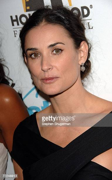 Actress Demi Moore poses with the Ensemble award for 'Bobby' in the press room at The Hollywood Film Festival 10th Annual Hollywood Awards Gala...