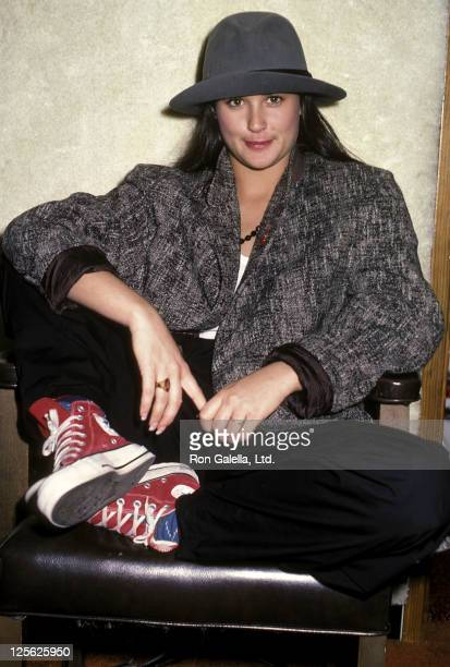 Actress Demi Moore visits a Los Angeles Radio Station on February 22 1984 in Los Angeles California