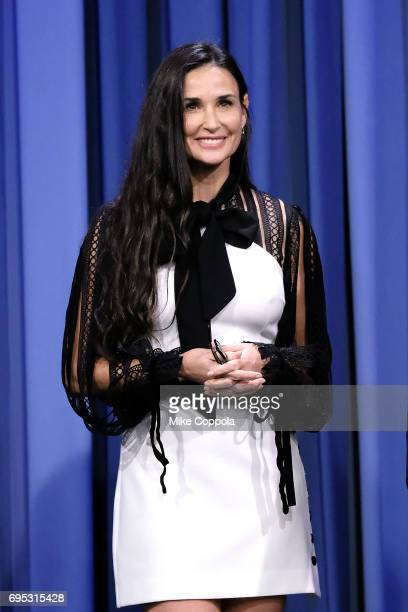 Actress Demi Moore visits 'The Tonight Show Starring Jimmy Fallon' at Rockefeller Center on June 12 2017 in New York City