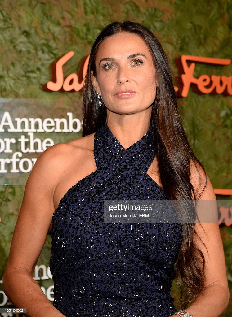 Actress <a gi-track='captionPersonalityLinkClicked' href=/galleries/search?phrase=Demi+Moore&family=editorial&specificpeople=202121 ng-click='$event.stopPropagation()'>Demi Moore</a>, wearing Ferragamo, arrives at the Wallis Annenberg Center for the Performing Arts Inaugural Gala presented by Salvatore Ferragamo at the Wallis Annenberg Center for the Performing Arts on October 17, 2013 in Beverly Hills, California.
