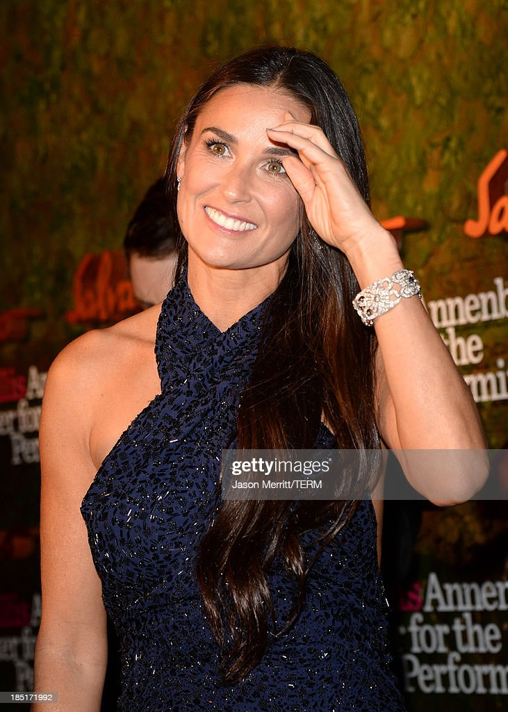 Actress Demi Moore, wearing Ferragamo, arrives at the Wallis Annenberg Center for the Performing Arts Inaugural Gala presented by Salvatore Ferragamo at the Wallis Annenberg Center for the Performing Arts on October 17, 2013 in Beverly Hills, California.