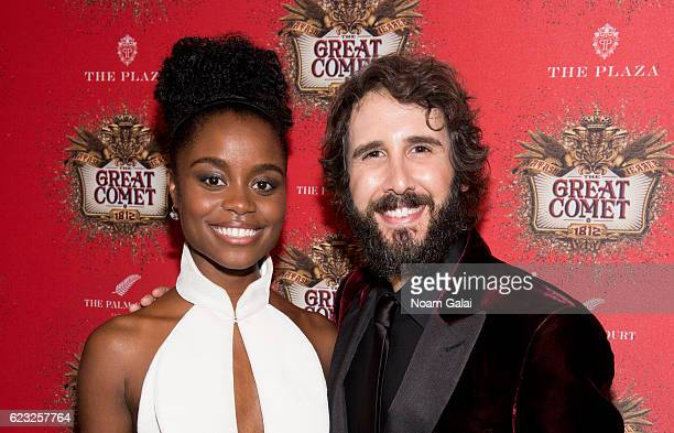 Actress Denee Benton and singer Josh Groban attend the after party for the 'Natasha Pierre The Great Comet Of 1812' opening night on Broadway at The...